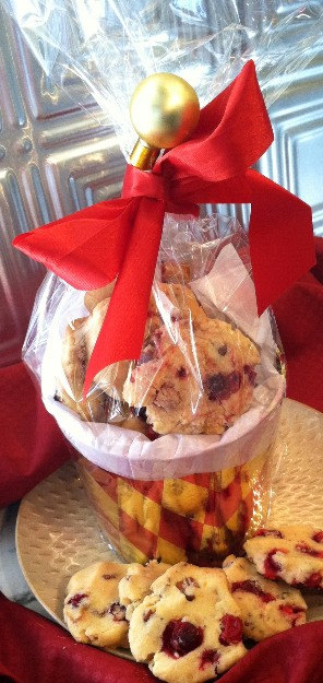 Cranberry orange shortbread cookie gifts