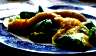 Curried Chicken with Mangoes and Greens