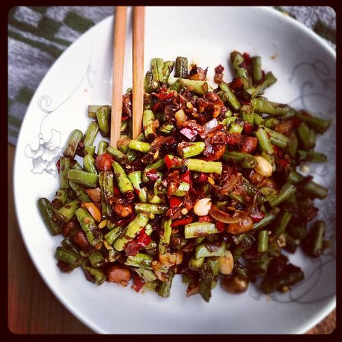 Spicy Chinese Long Beans with peanuts