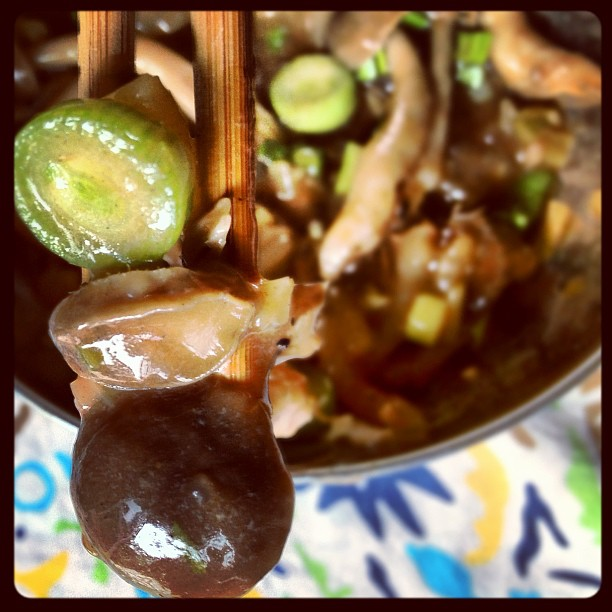 Braised Abalone with mushrooms and green onions
