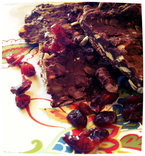 Chocolate Pumpkin Seed Bark, with craisins and a protein punch