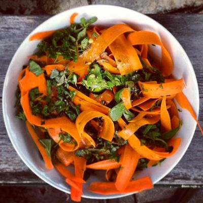 Ffwd:  Swordfish with frilly carrot and herb salad
