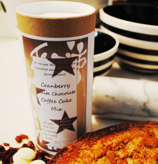 Cranberry white chocolate coffee cake