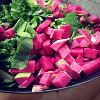 Sauteed Watermelon Radishes with greens from Red Fire Farm