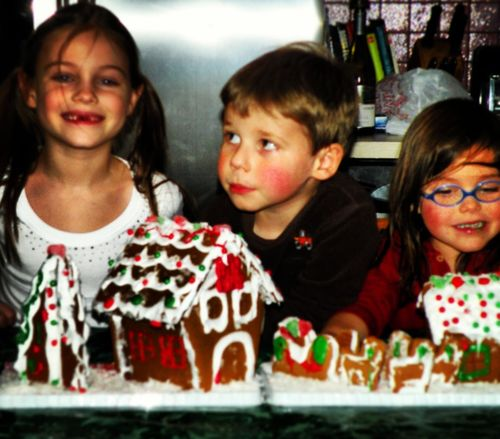 Julia, Nicholas and Maya with their favorite holiday treat.