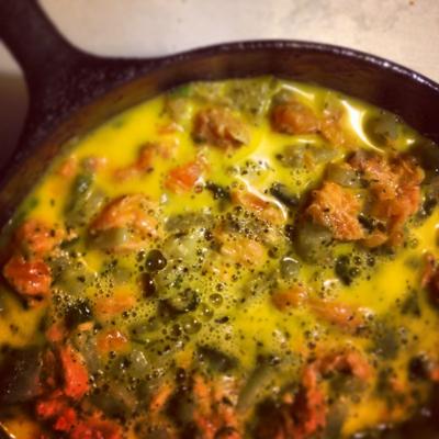Salmon, potato and scallion frittata