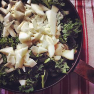 Kale and Apples over polenta
